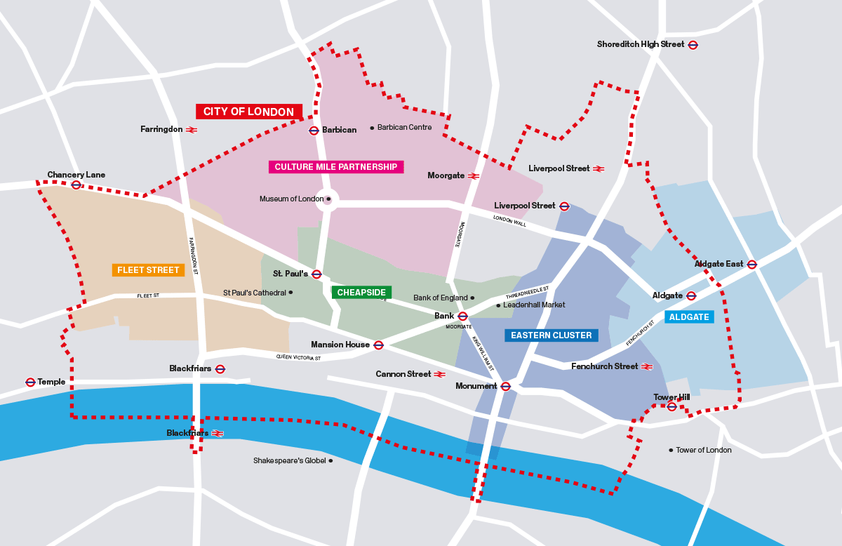 Map of BDs and pre-BID partnership that already exist within the City of London