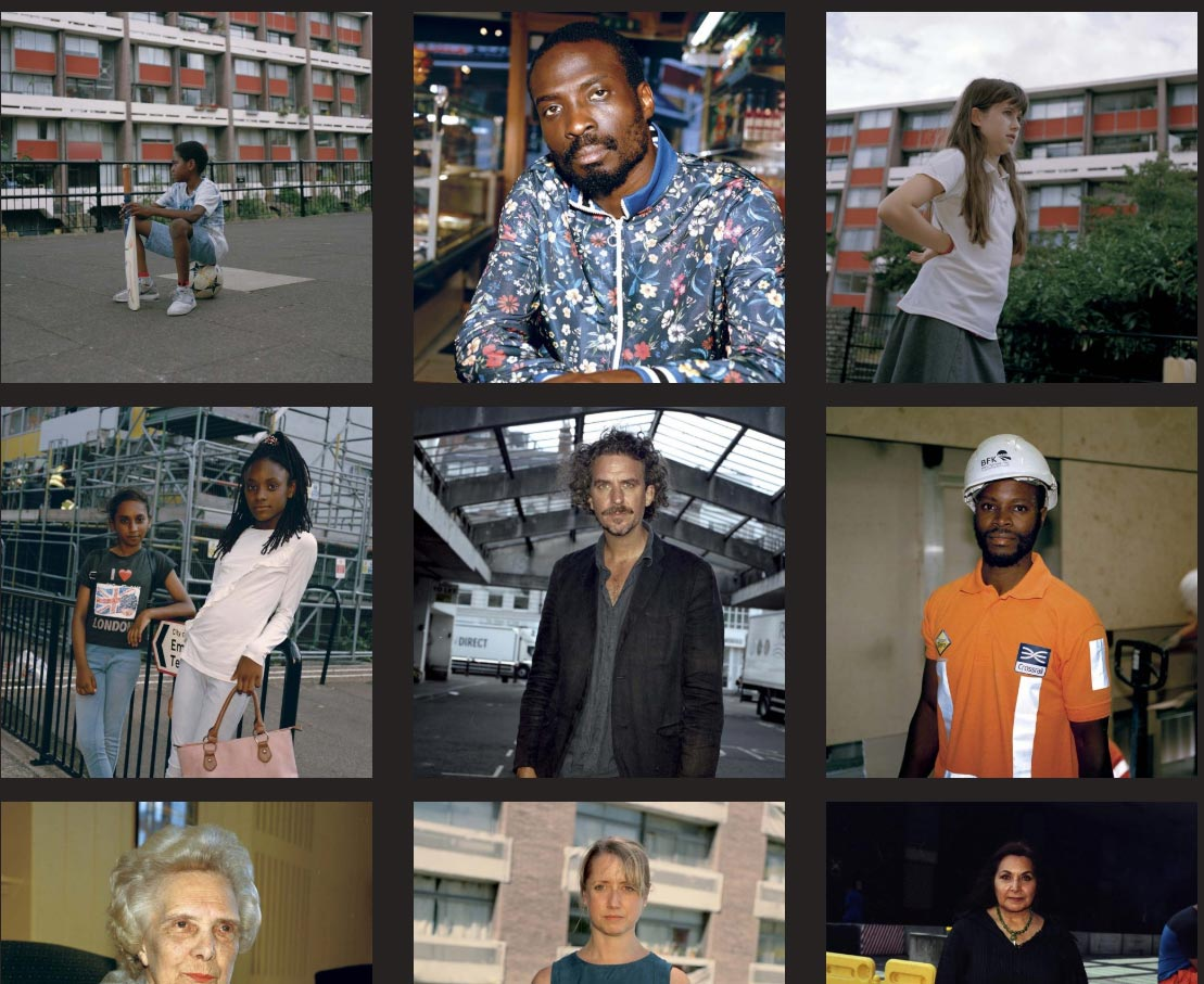 Image grid collage people in the community