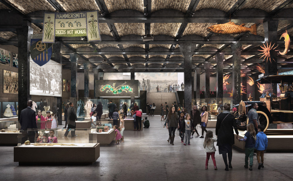 Artistic impression of the galleries set in the subterranean space beneath the General Market