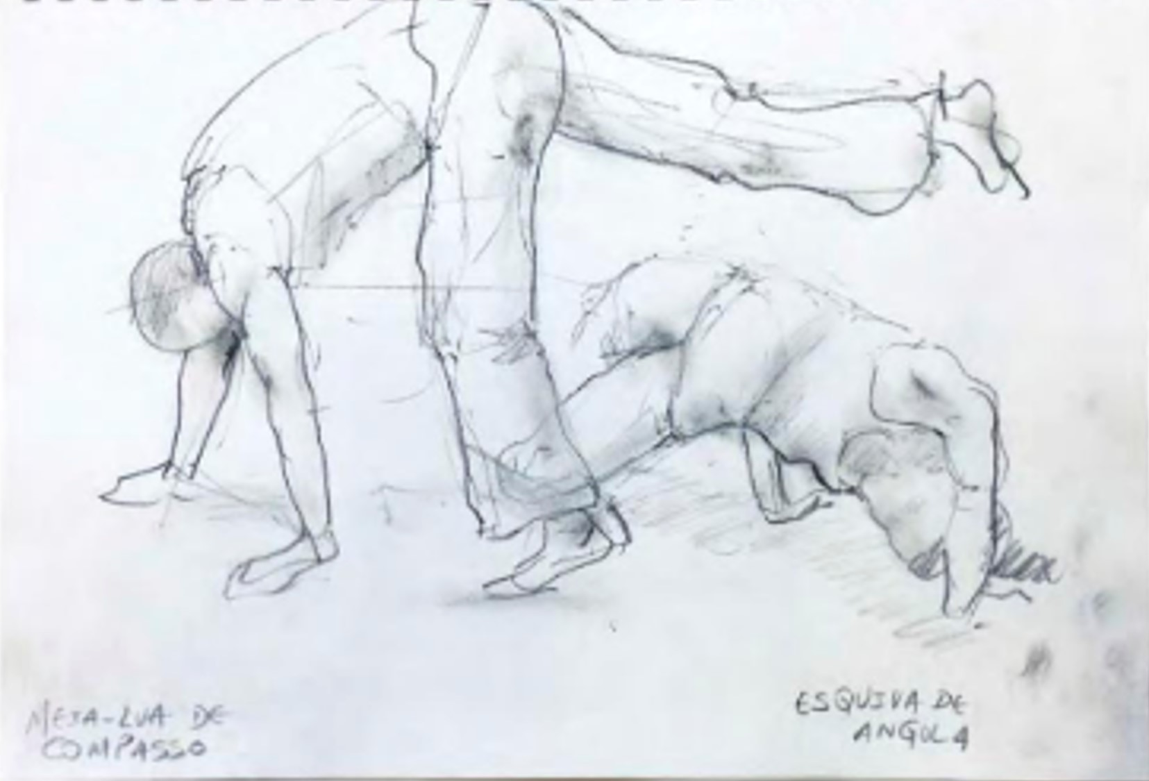 Life drawing sketch of two people doing capoeira poses