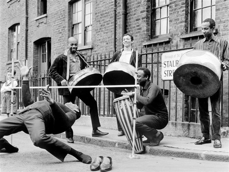 Steel drum band on London street