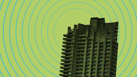 Image of Barbican Estate tower block on green background