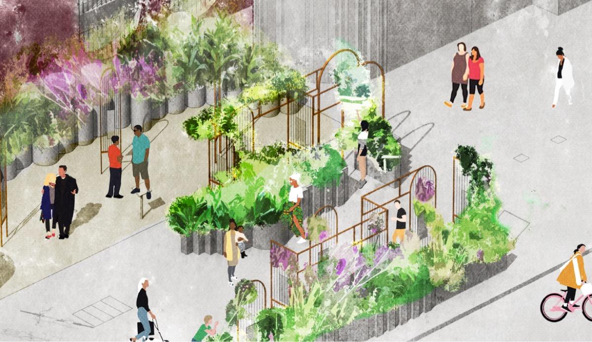 Conceptual sketch of Moor Lane Community Garden