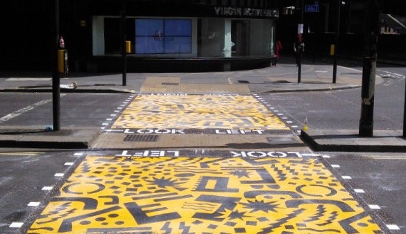 An example of a colourful zebra crossing installation
