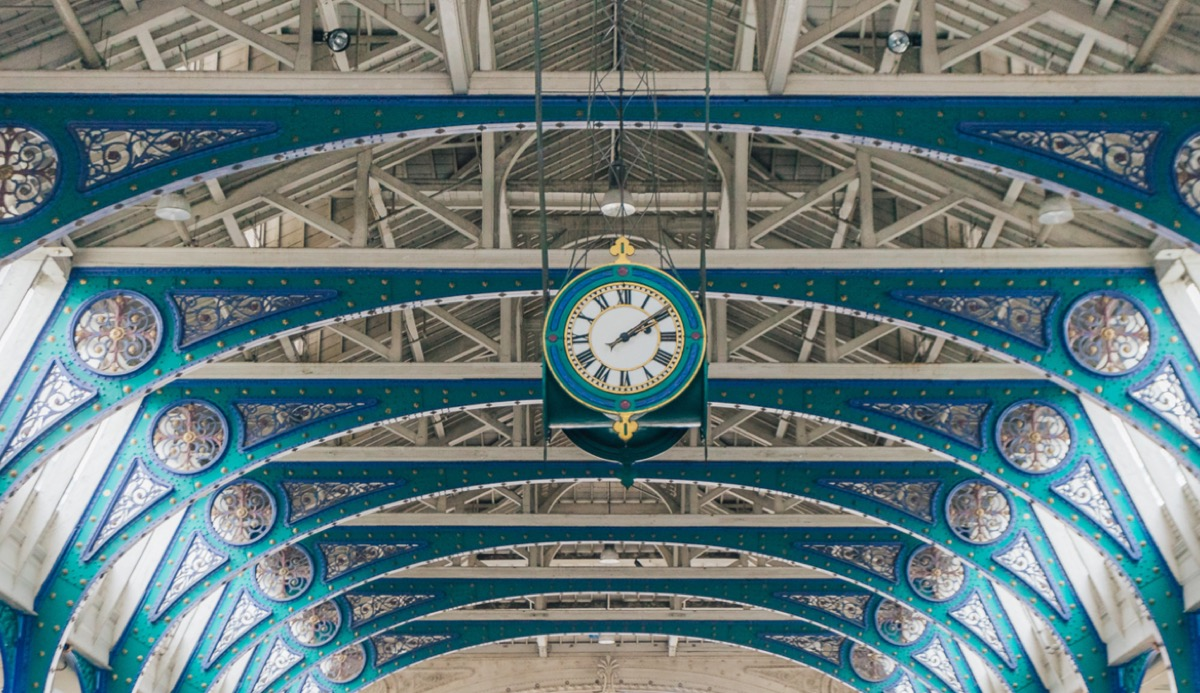 Large clock mounted on the ceiling