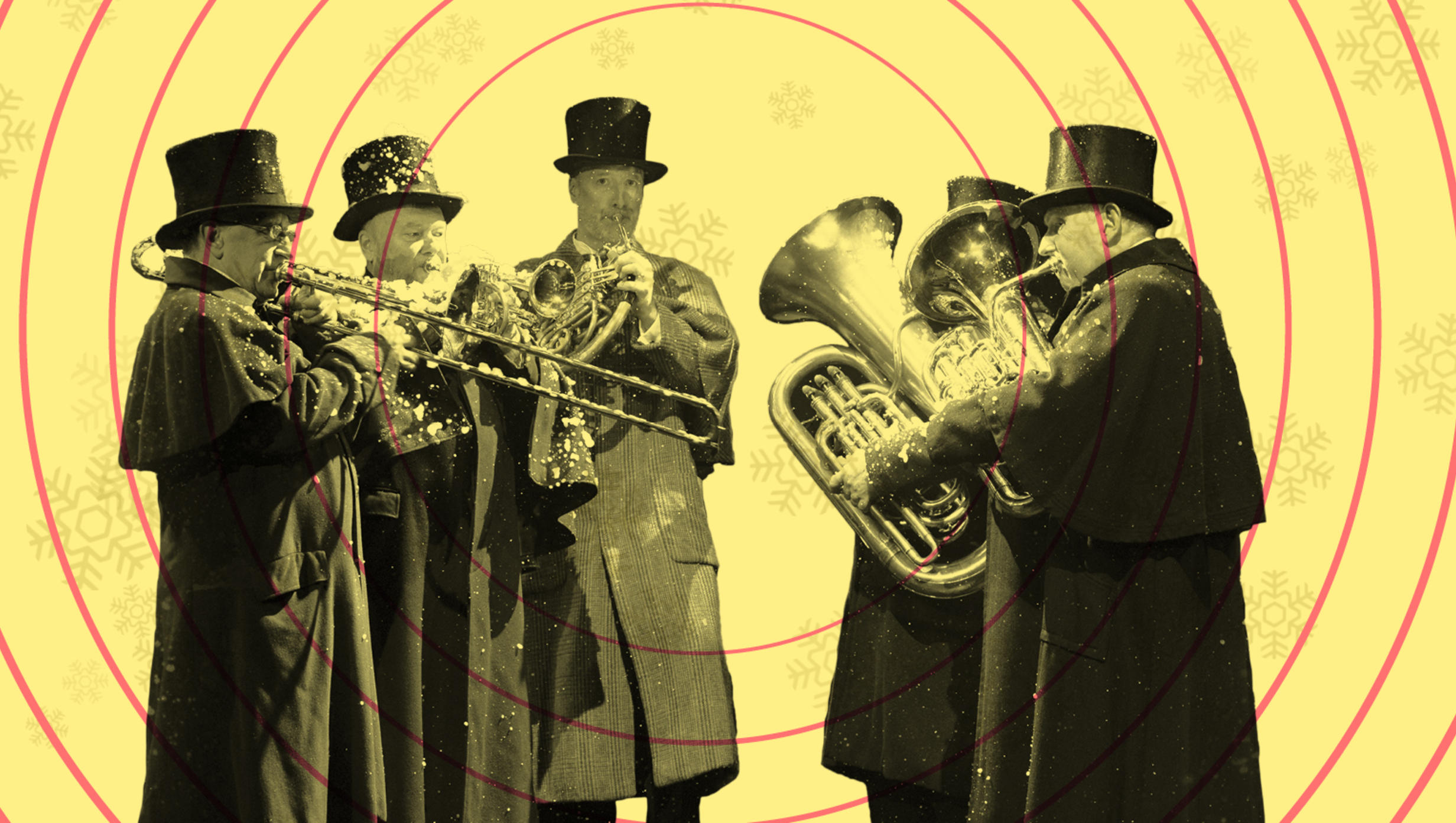 Members of the London Concert Brass playing in Victorian costume
