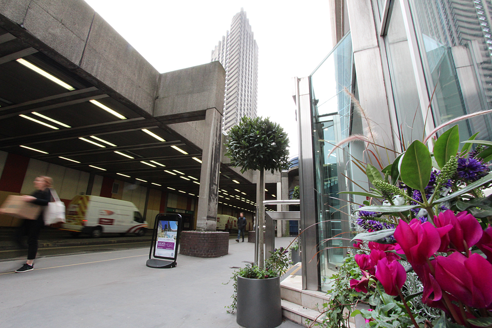 Image outside BE offices with Barbican in background