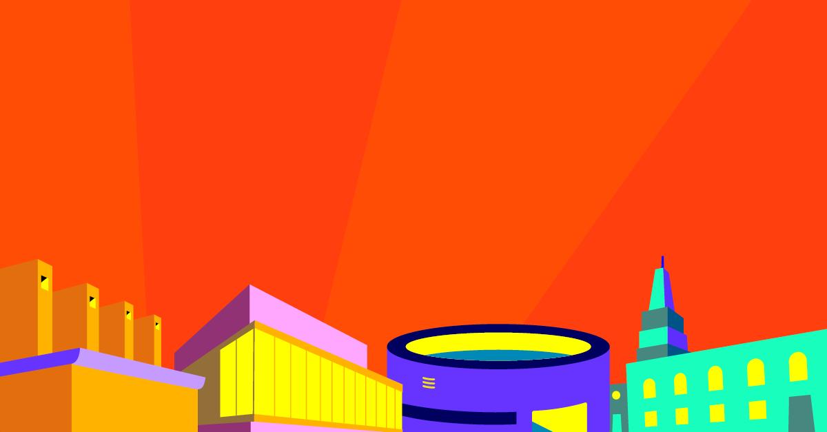Vibrant illustration of city