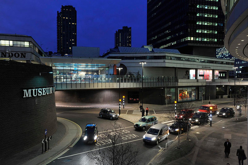 Museum of London exterior shot featuring North-South route