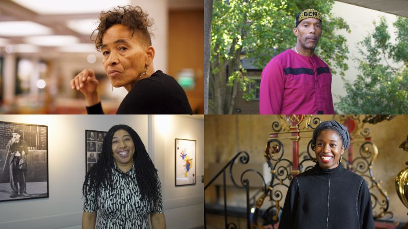 Collage photo of four participants from Our Stories project