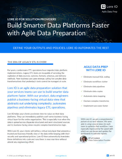Reduce Data Management Effort