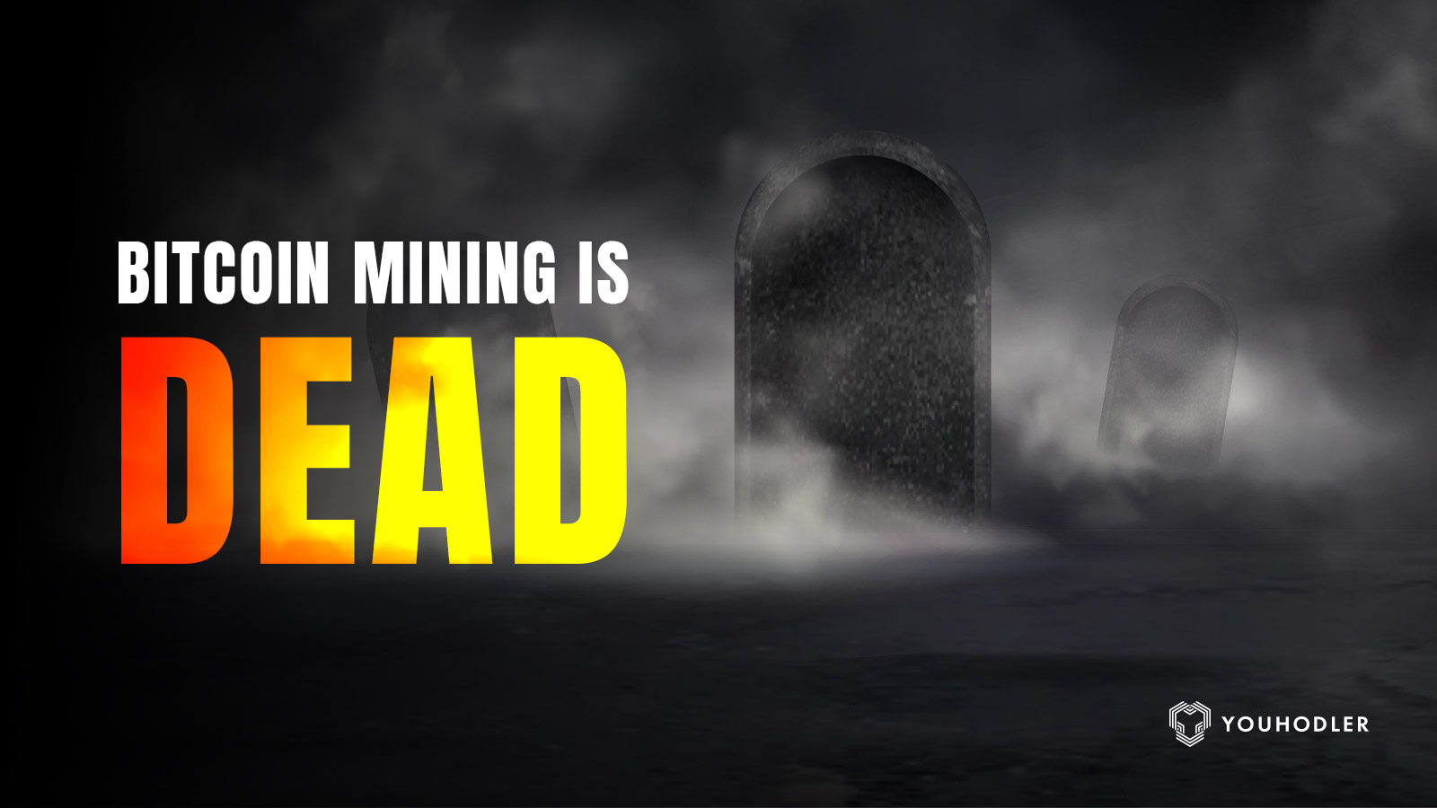 """a grave stone with the text """"bitcoin mining is dead"""""""