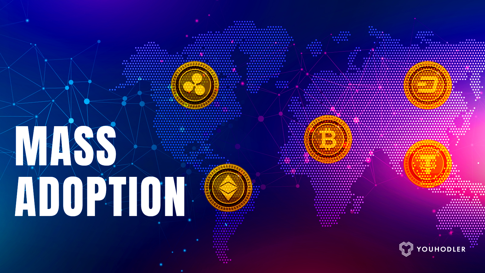 cryptocurrencies surround the globe symbolizing mass adoption