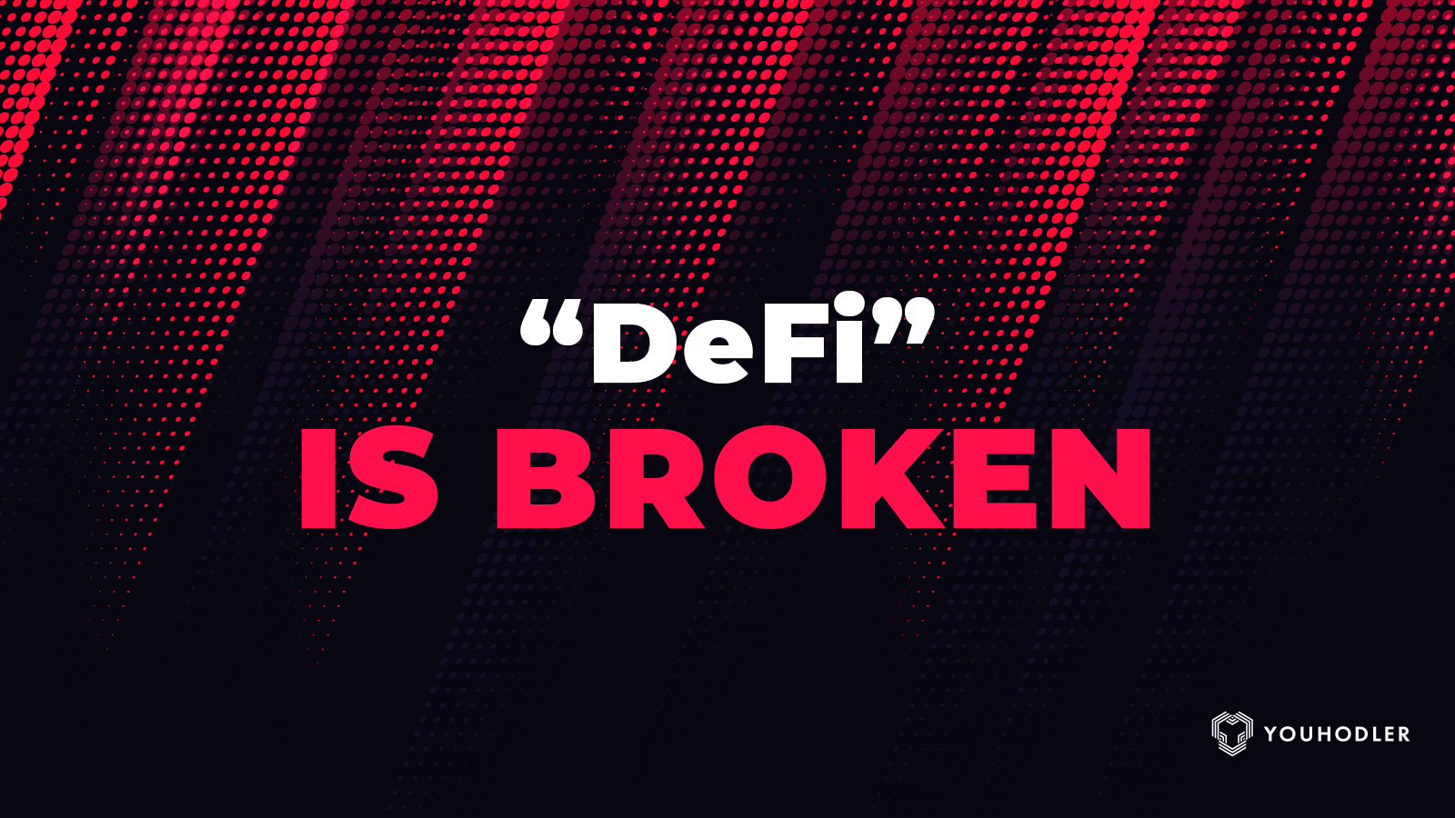 "A warning sign flashes red with the words ""DeFi is broken"""