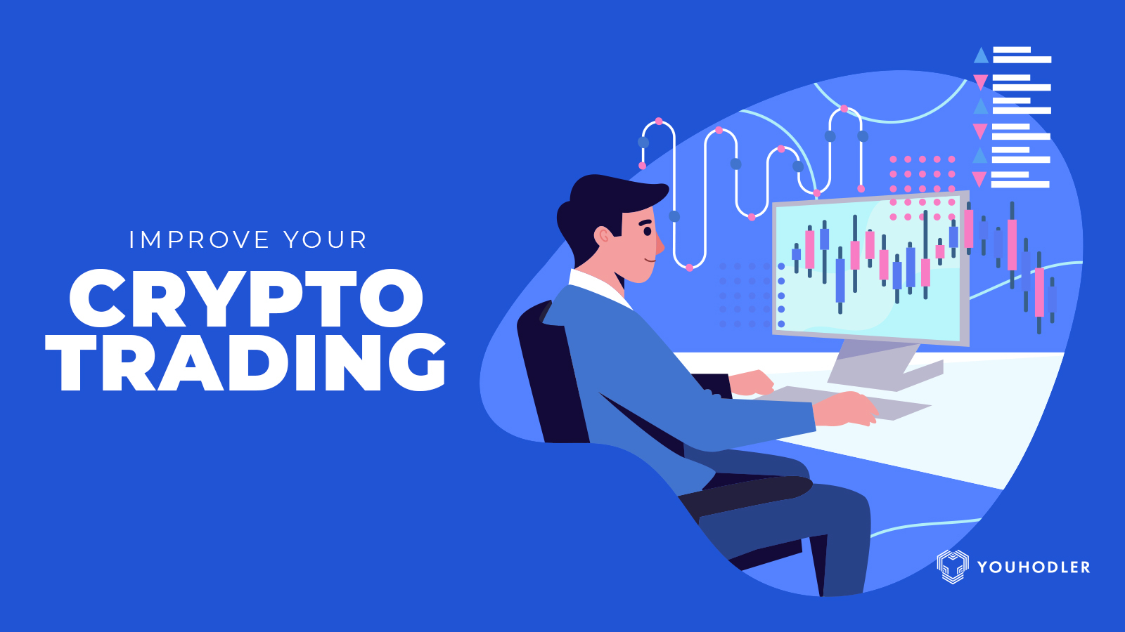 A trader sits down at his computer researching new crypto trading tips