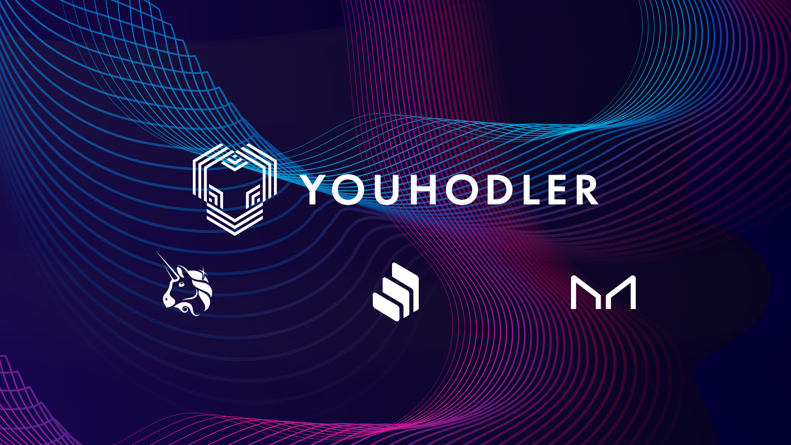 logos for Uniswap, Compound and Maker on an image with YouHodler logo