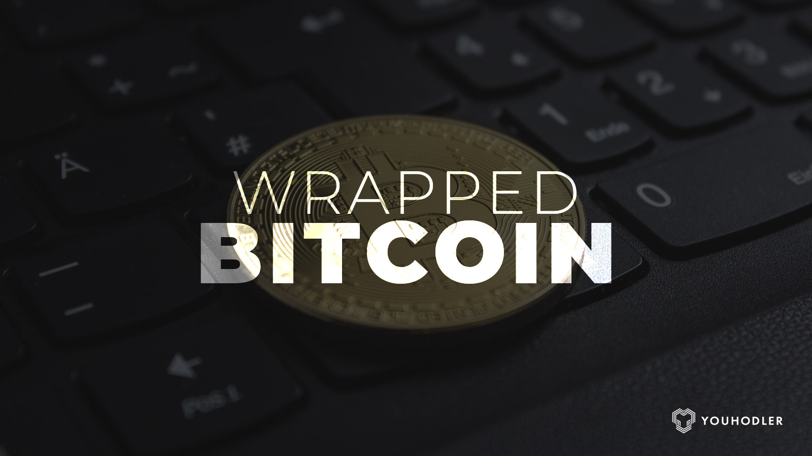 "a metal coin sits on a table with the words ""wrapped Bitcoin"" above it"