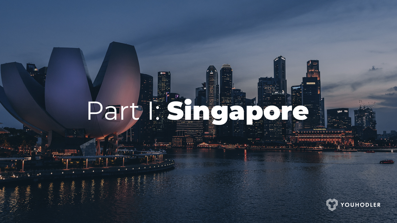 Photo of the Singapore skyline during the night
