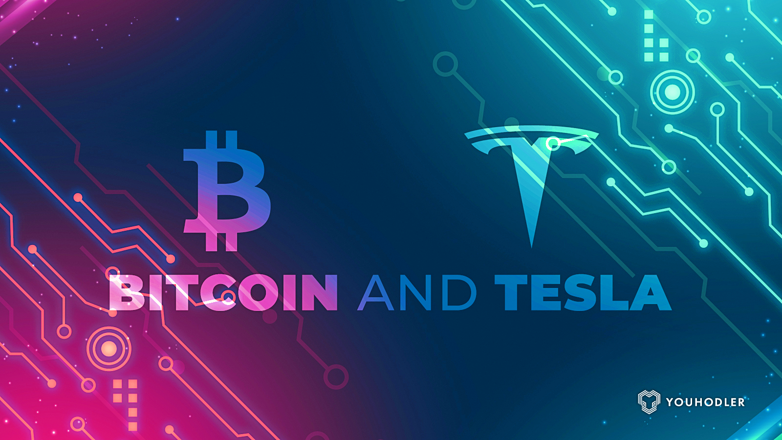 Tesla and Bitcoin logos against a colorful backdrop