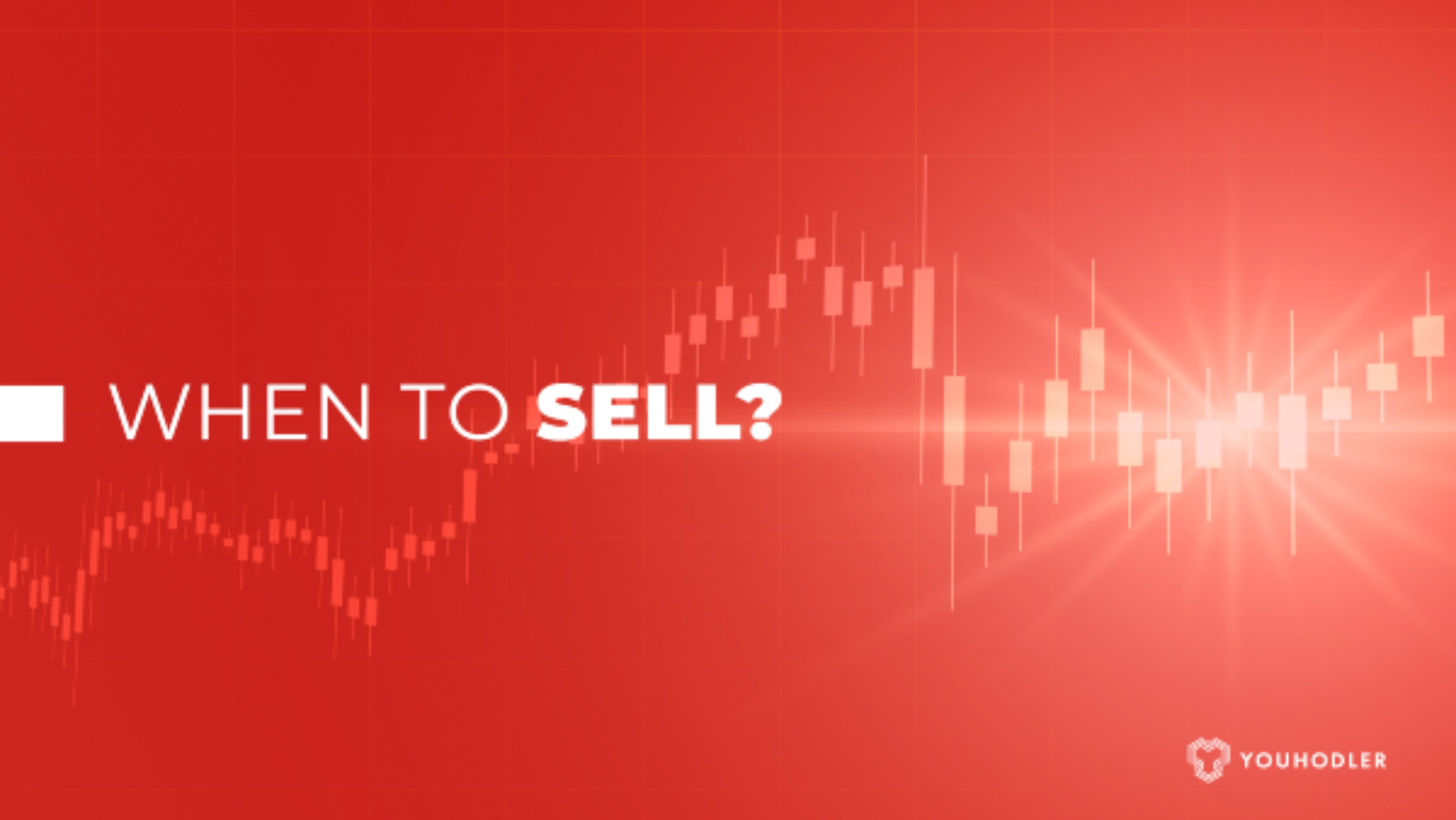 """Red chart in the background with the text """"when to sell bitcoin?"""""""