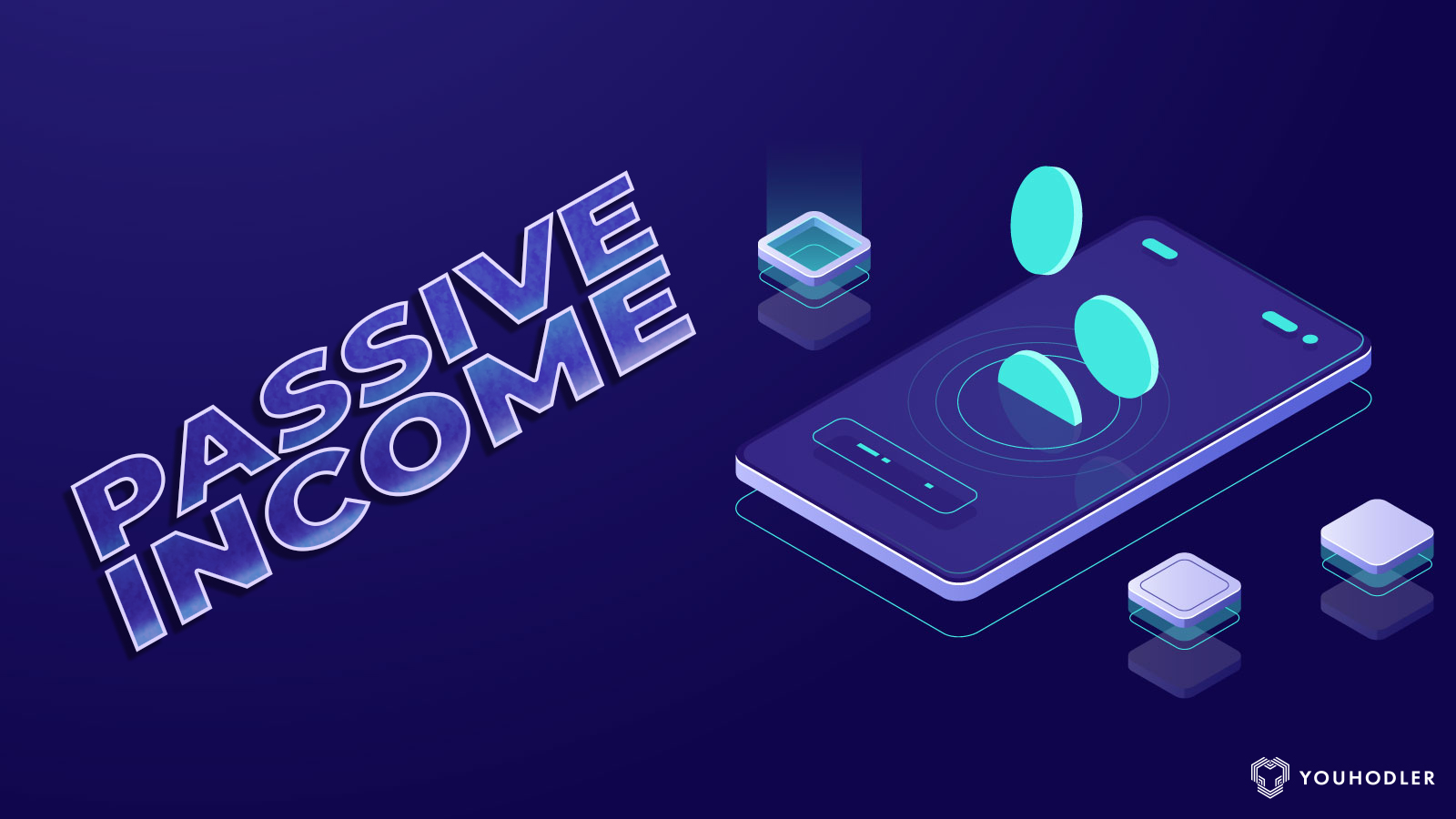 a smart phone with graphic text saying passive income