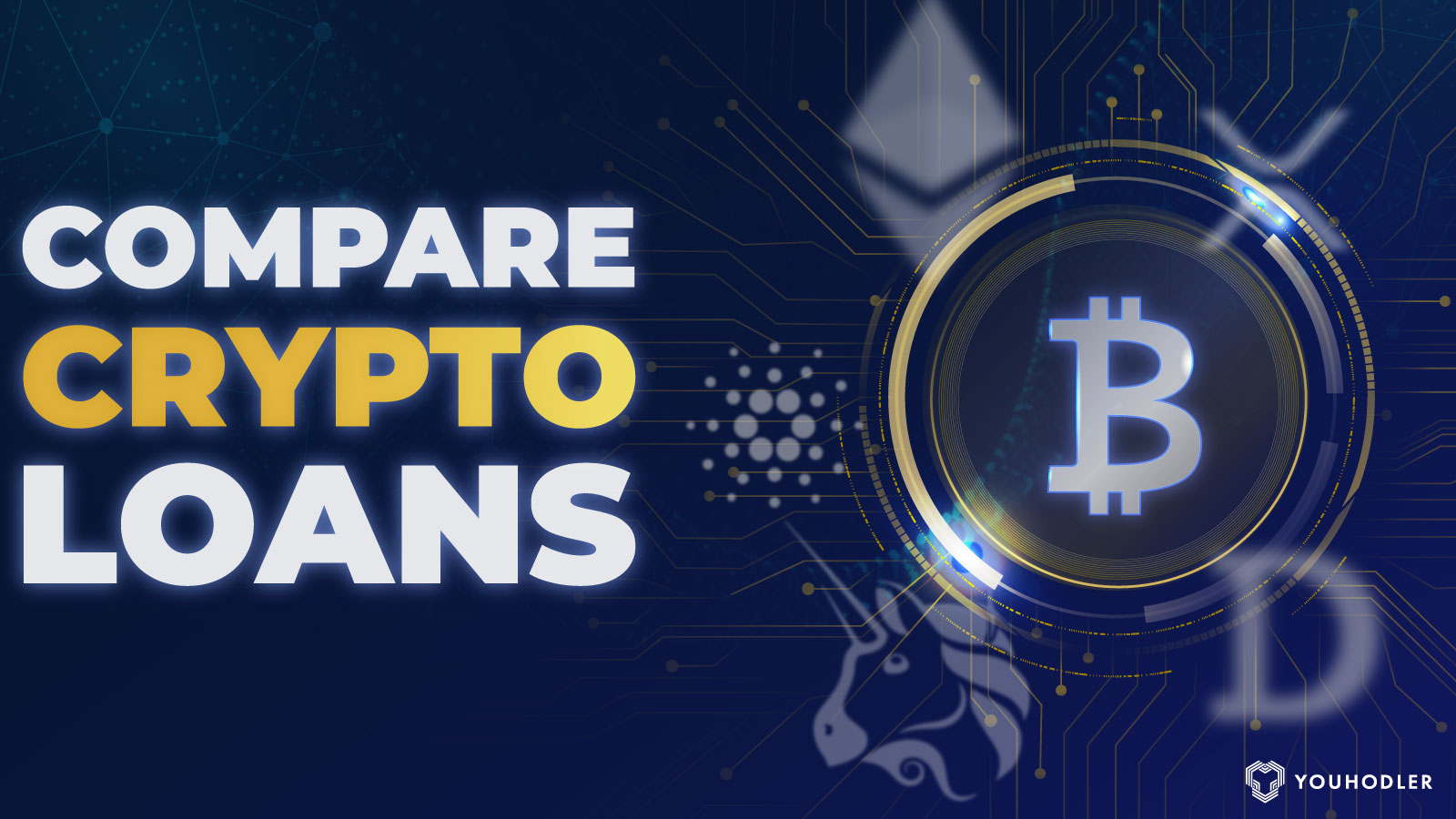 """Bitcoin logo with the text saying """"compare crypto loans"""""""