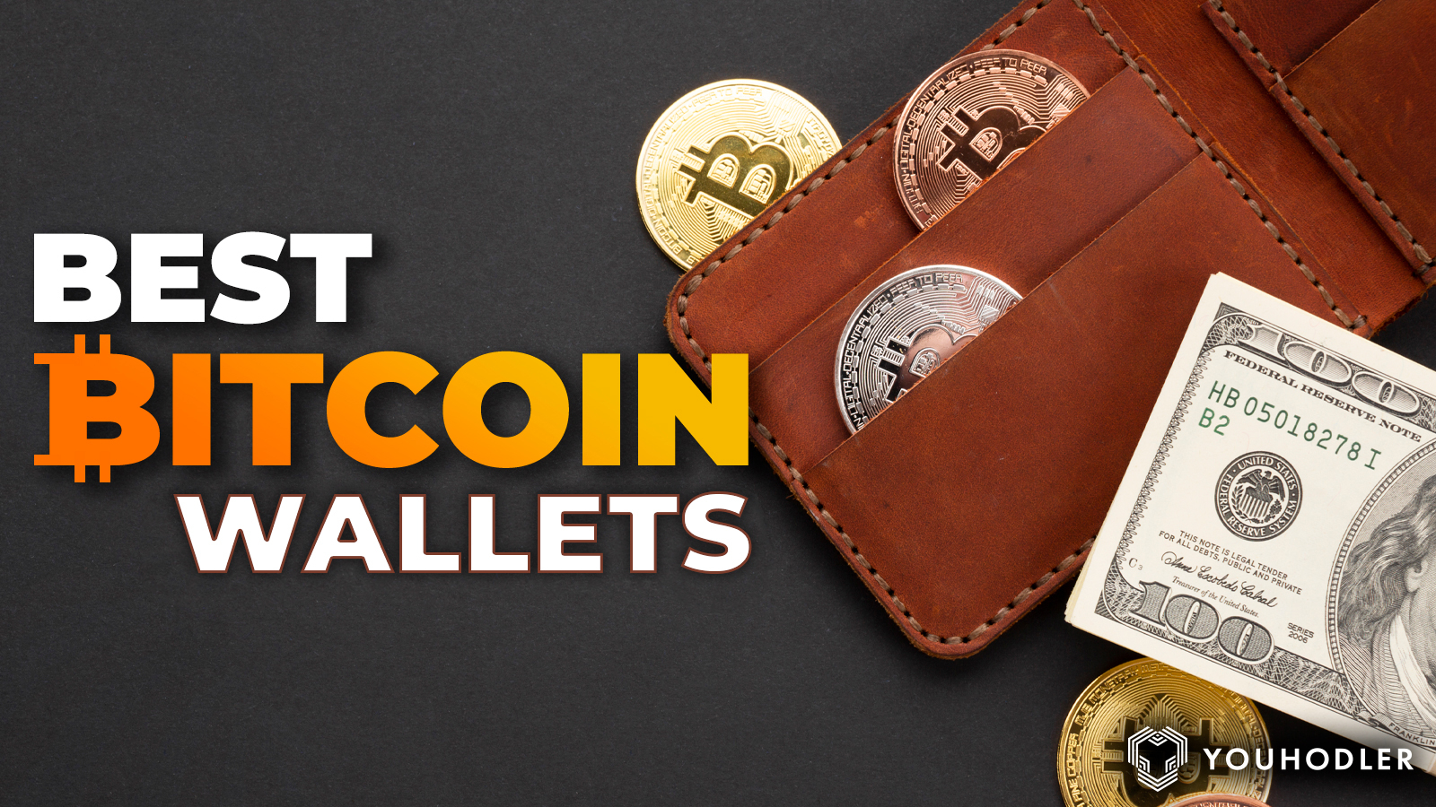 A picture of a leather wallet with Bitcoins coming out of it.