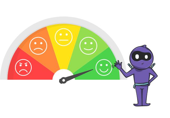 Measuring customer satisfaction via a mood meter.