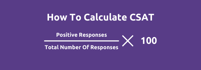 How to calculate CSAT: positive responses over total number of responses multiplied by 100.