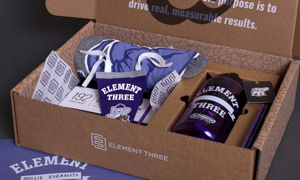 A kit of custom swag to be sent out to employees.