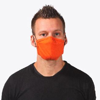 Man wearing orange face mask
