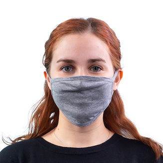 woman wearing grey face mask