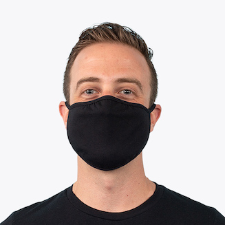 man wearing black face mask
