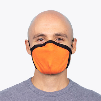 Man wearing orange face mask