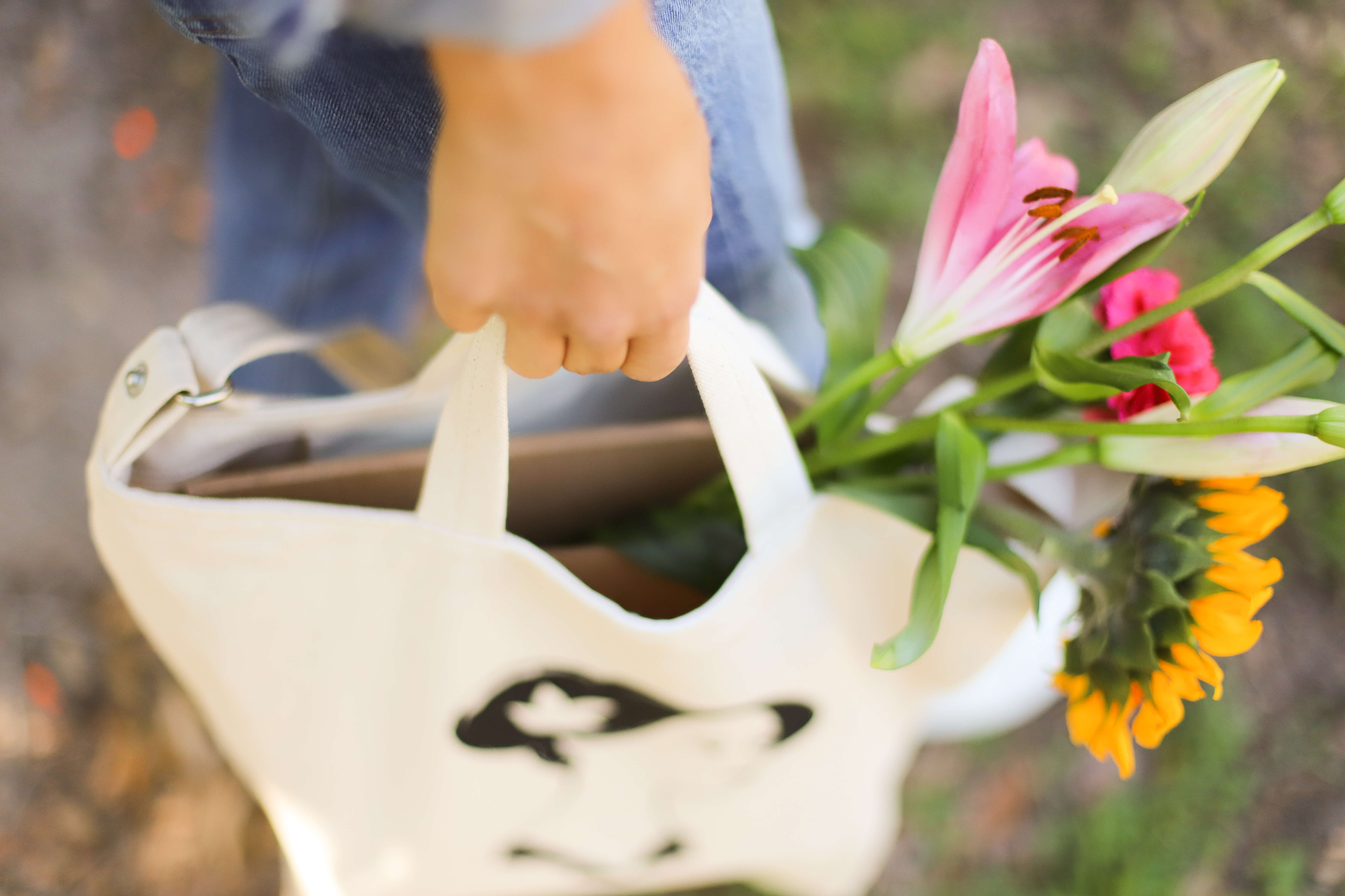 Custom tote bag filled with flowers