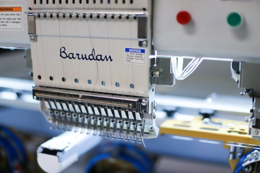 An embroidery machine is ready to start a project