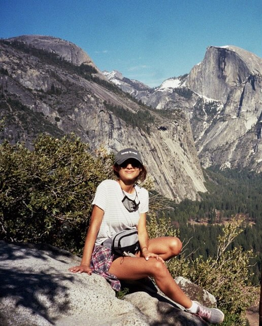 Girl wearing custom hat in Yosemite National Park