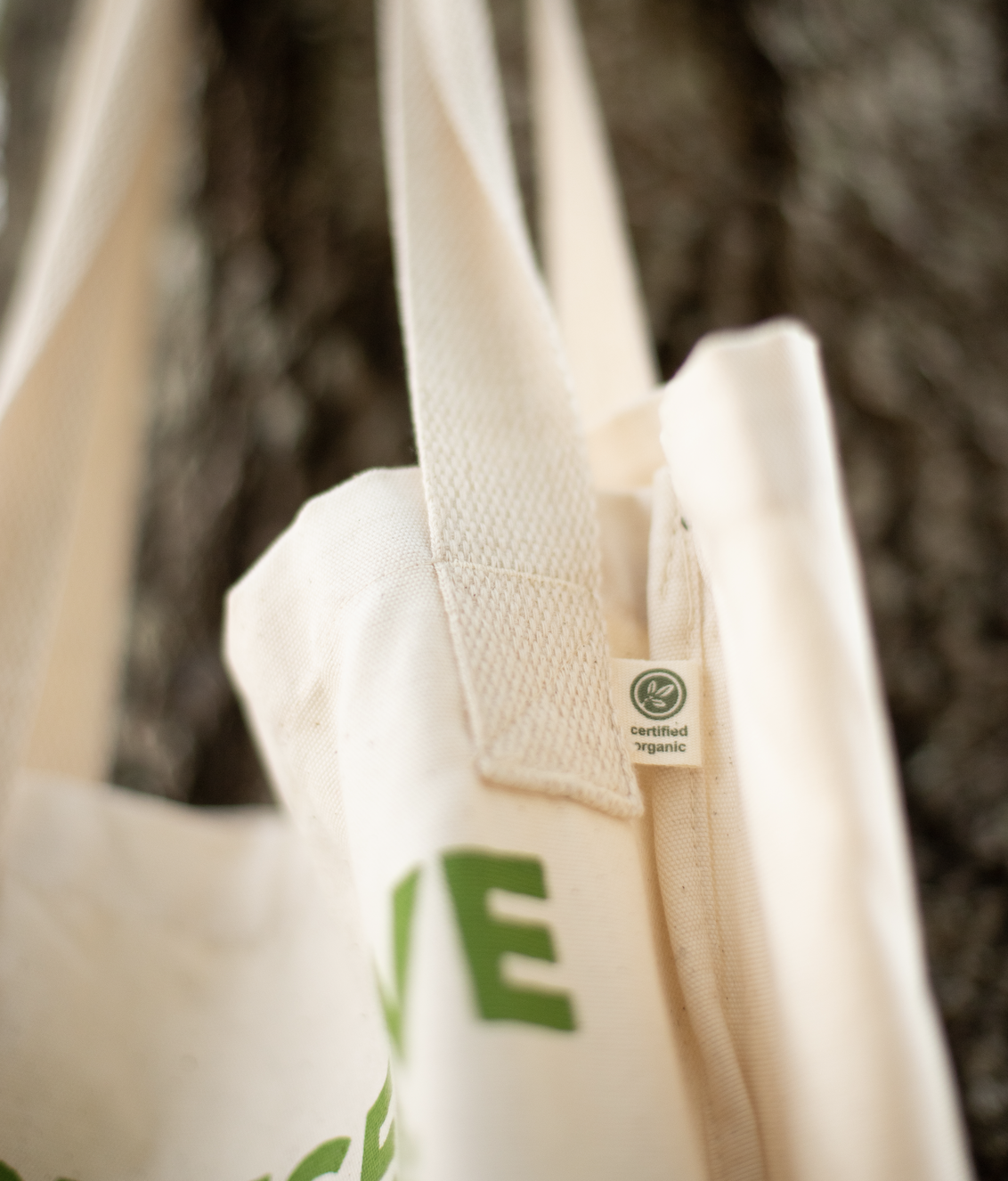 An eco-friendly tote bag hangs from a tree.