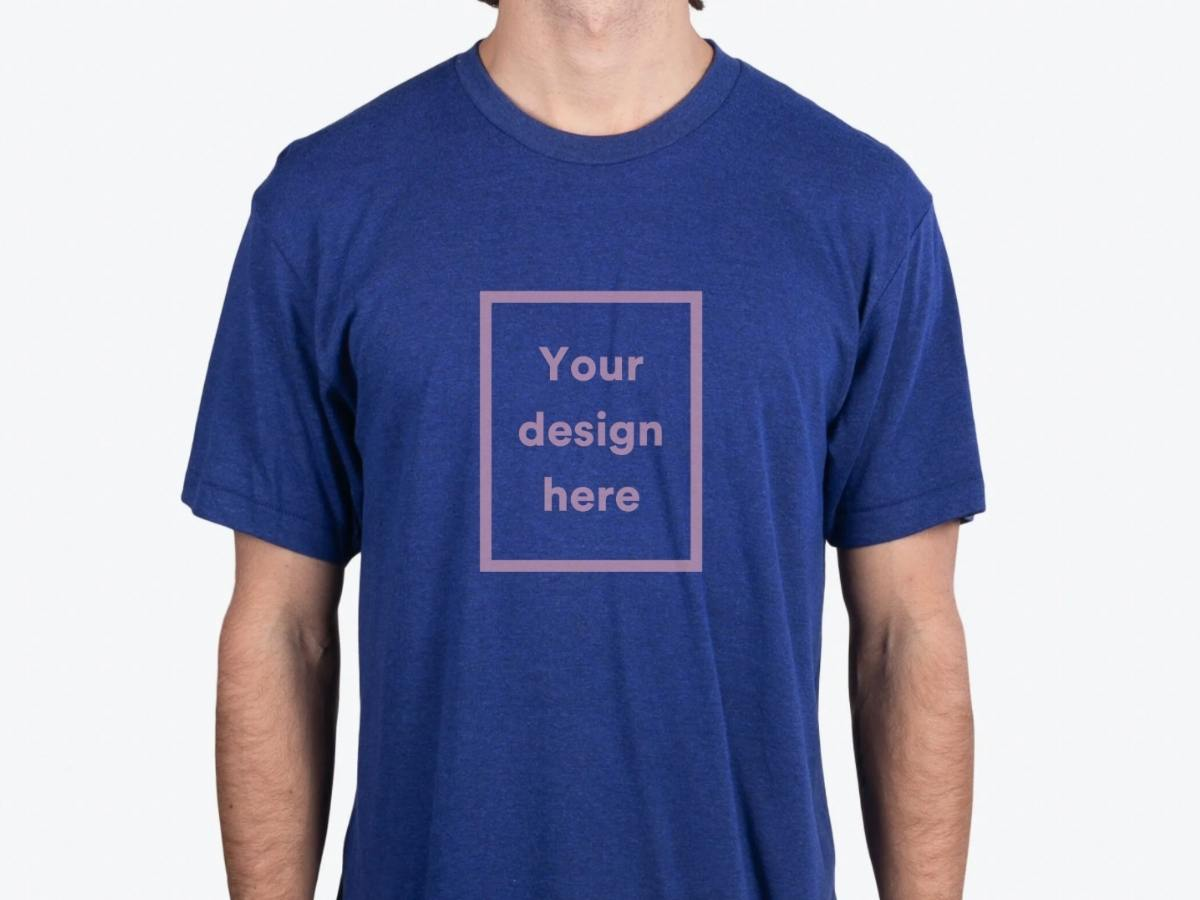 A navy custom t-shirt option.
