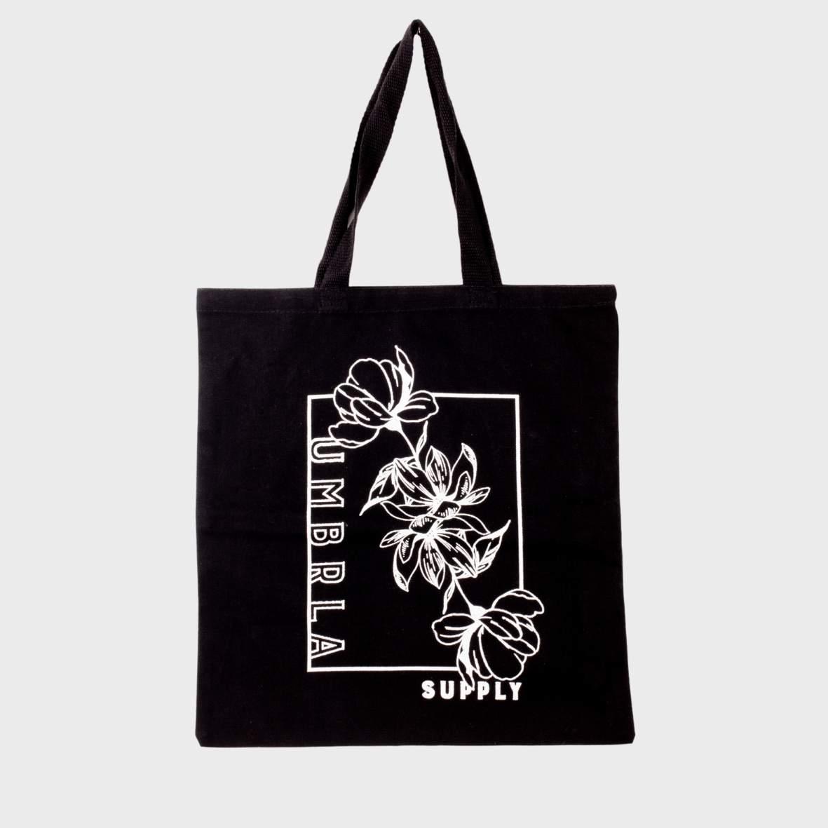 A tote bag with a custom printed design