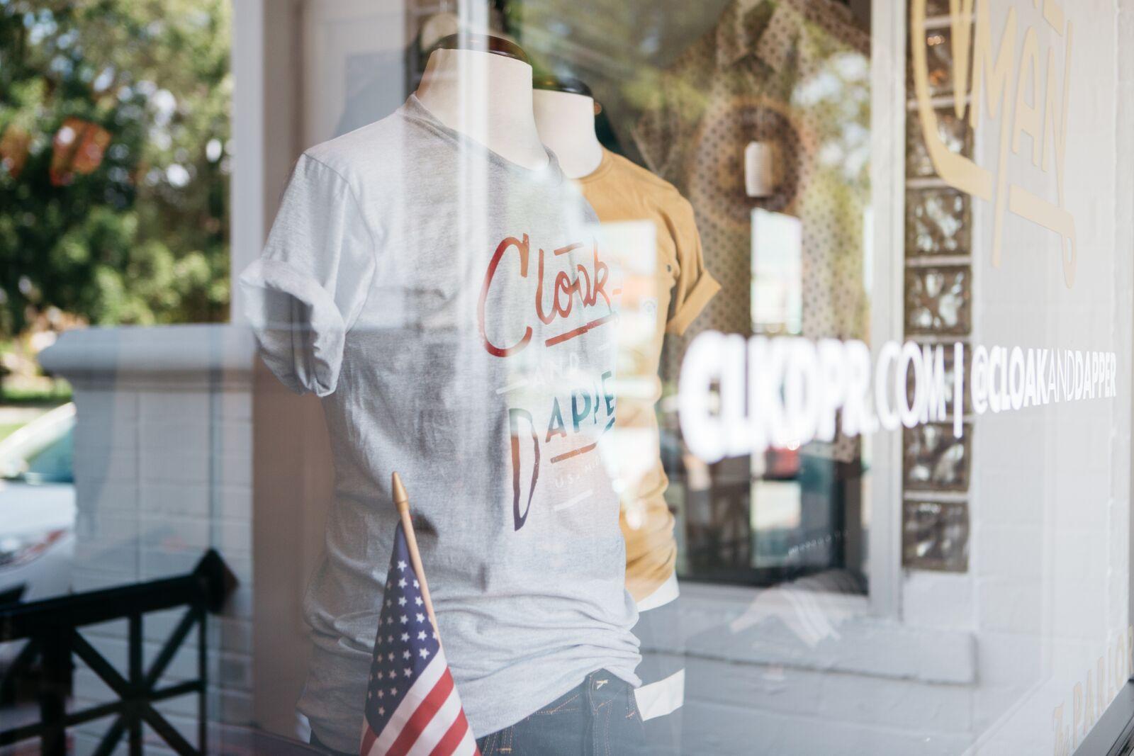 Cloak & Dapper storefront display