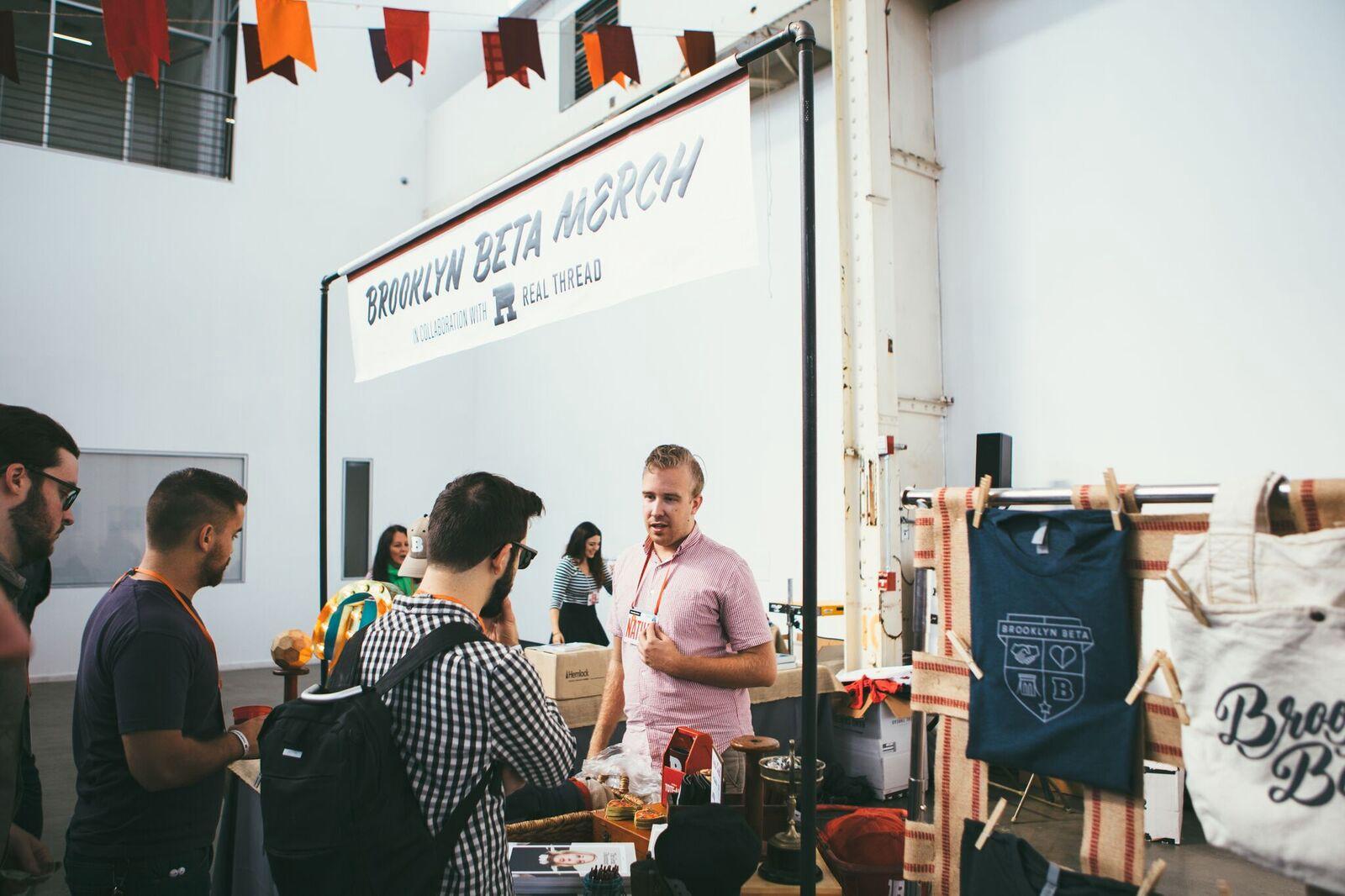 Brooklyn Beta Merch booth by Real Thread