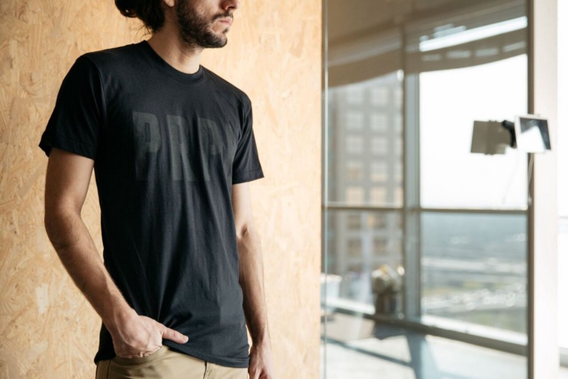 black print on a black shirt with our bold ink