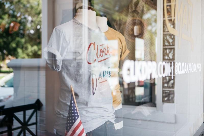 Cloak & Dapper t-shirt window display