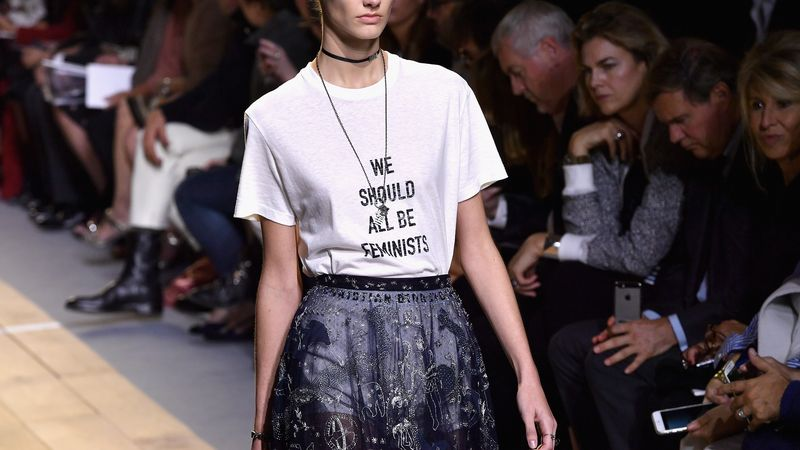we should all be feminists t-shirt at fashion show