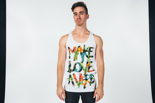 make love a verb printed with simulated process printing