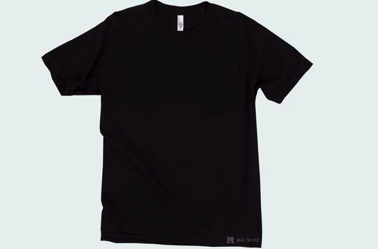 black shirt flat lay