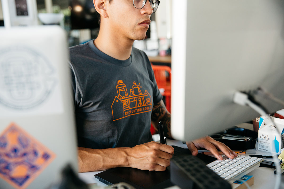 man working on pad
