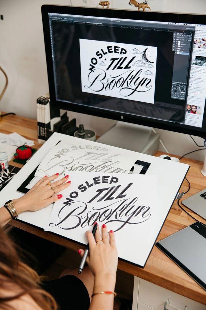 girl designing type