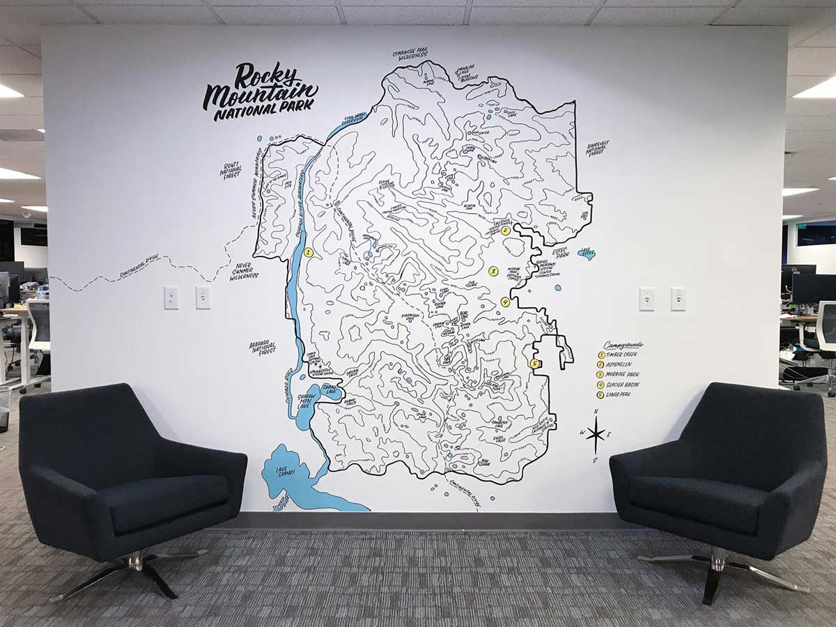 Wall mural of map